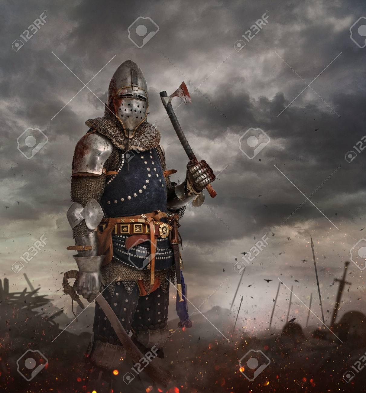 Knight with sword in battlefield with dark clouds on background. - 62379359