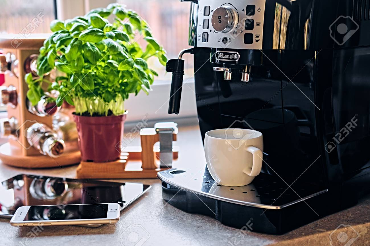 Professional coffee machine for home use and communication set of smart watch, tablet PC and smart phone. - 75717477