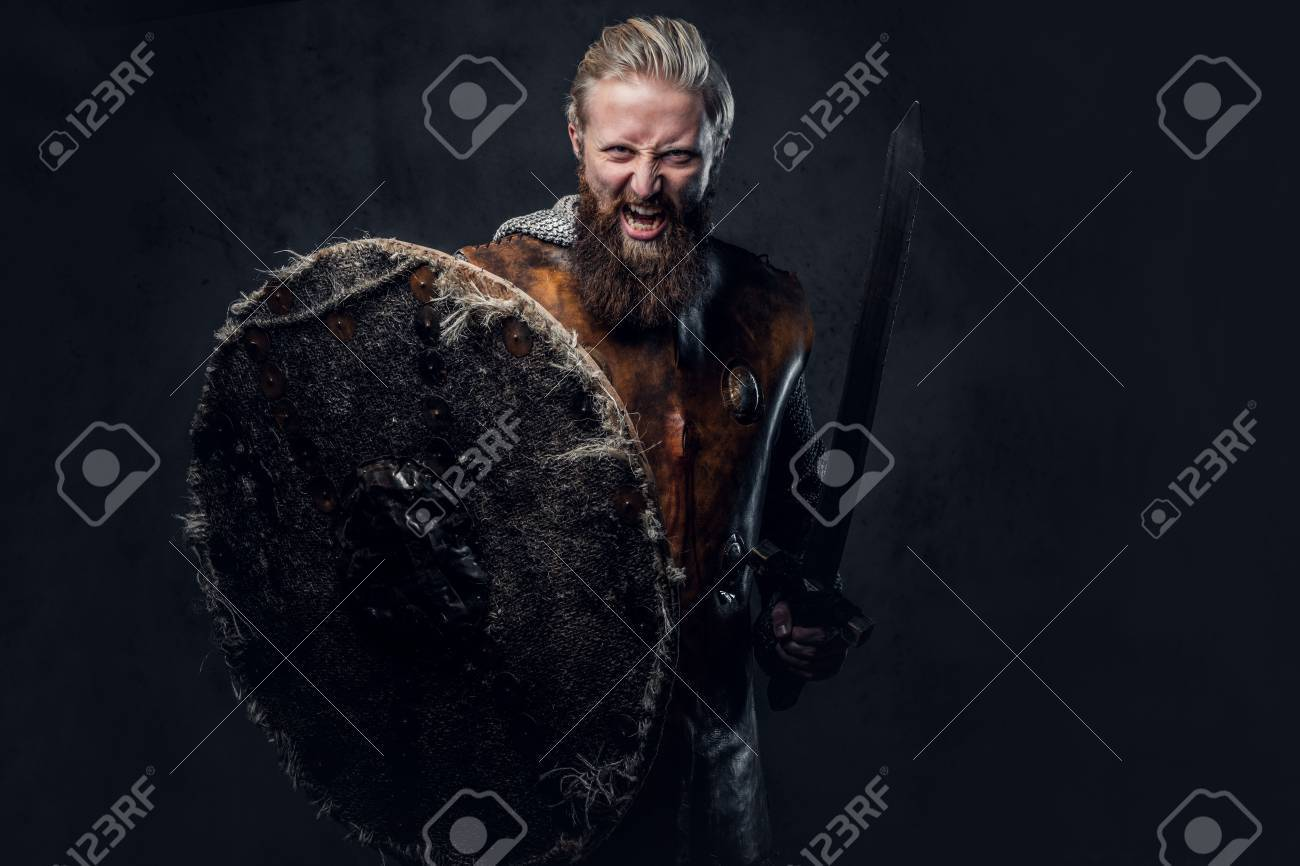 Viking dressed in Nordic armor holds a shield and silver sword. - 89165905