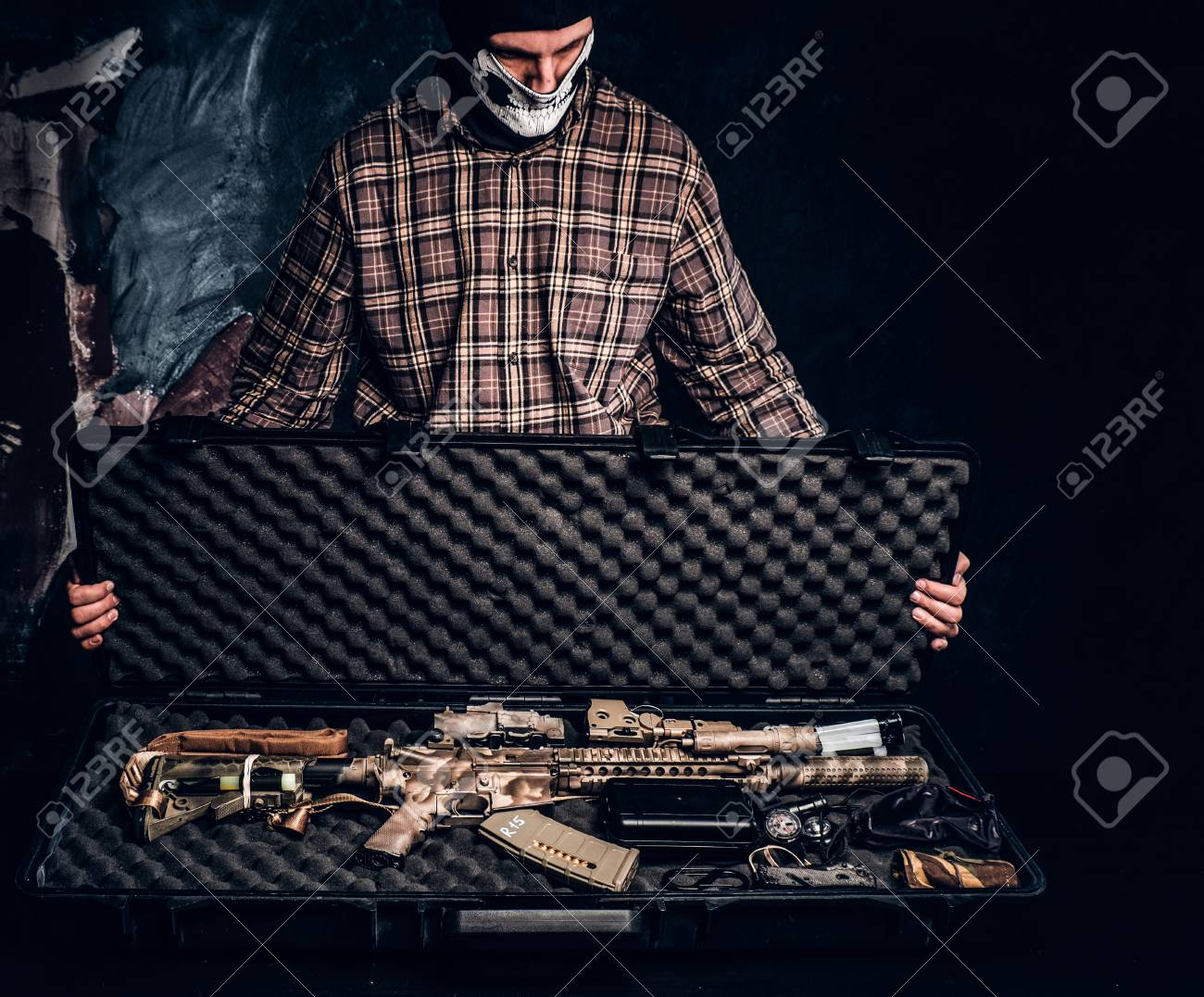 Illegal sale of weapons, black market, the criminal opens the