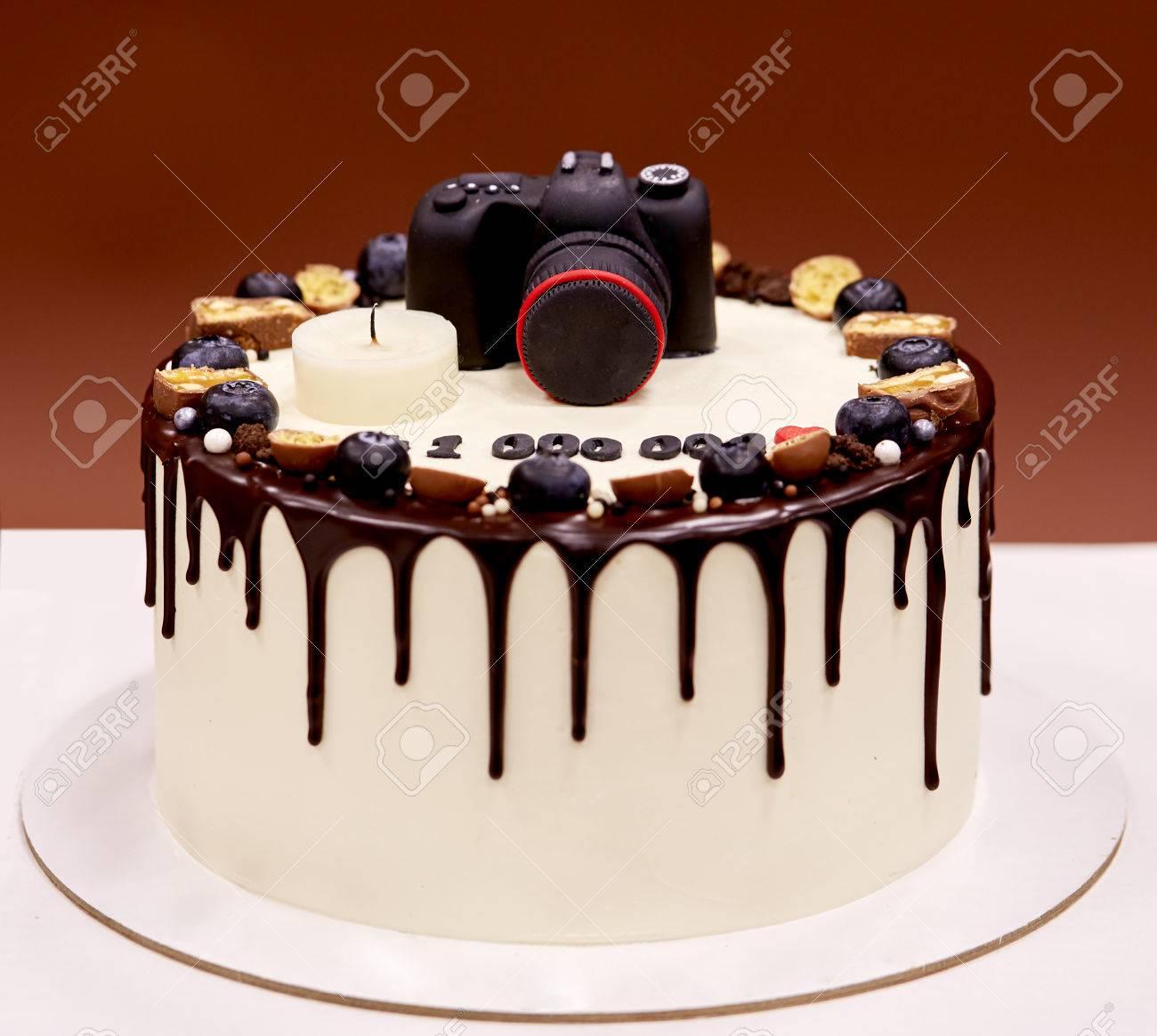 Remarkable Photographers Birthday Cake With A Photo Camera On Top Stock Photo Funny Birthday Cards Online Benoljebrpdamsfinfo