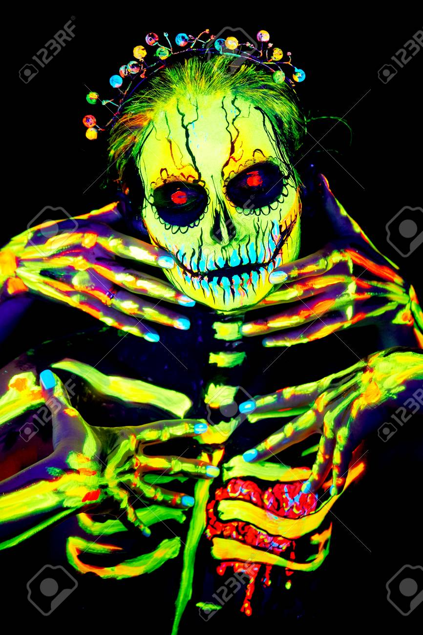 Uv Body Art Painting Of Helloween Female Skeleton Stock Photo Picture And Royalty Free Image Image 111962645