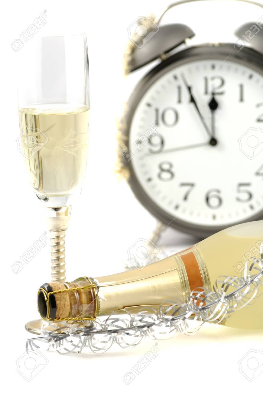 Happy new year background with champagne and Alarm clock Stock Photo - 5814062
