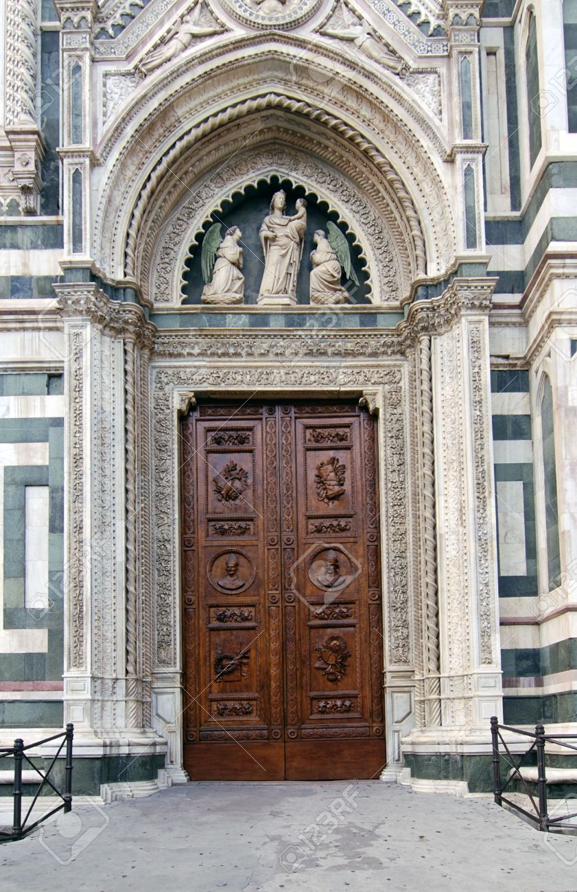Beautiful renaissance wooden door of the cathedral Santa Maria del Fiore in Florence Italy Stock & Beautiful Renaissance Wooden Door Of The Cathedral Santa Maria ...