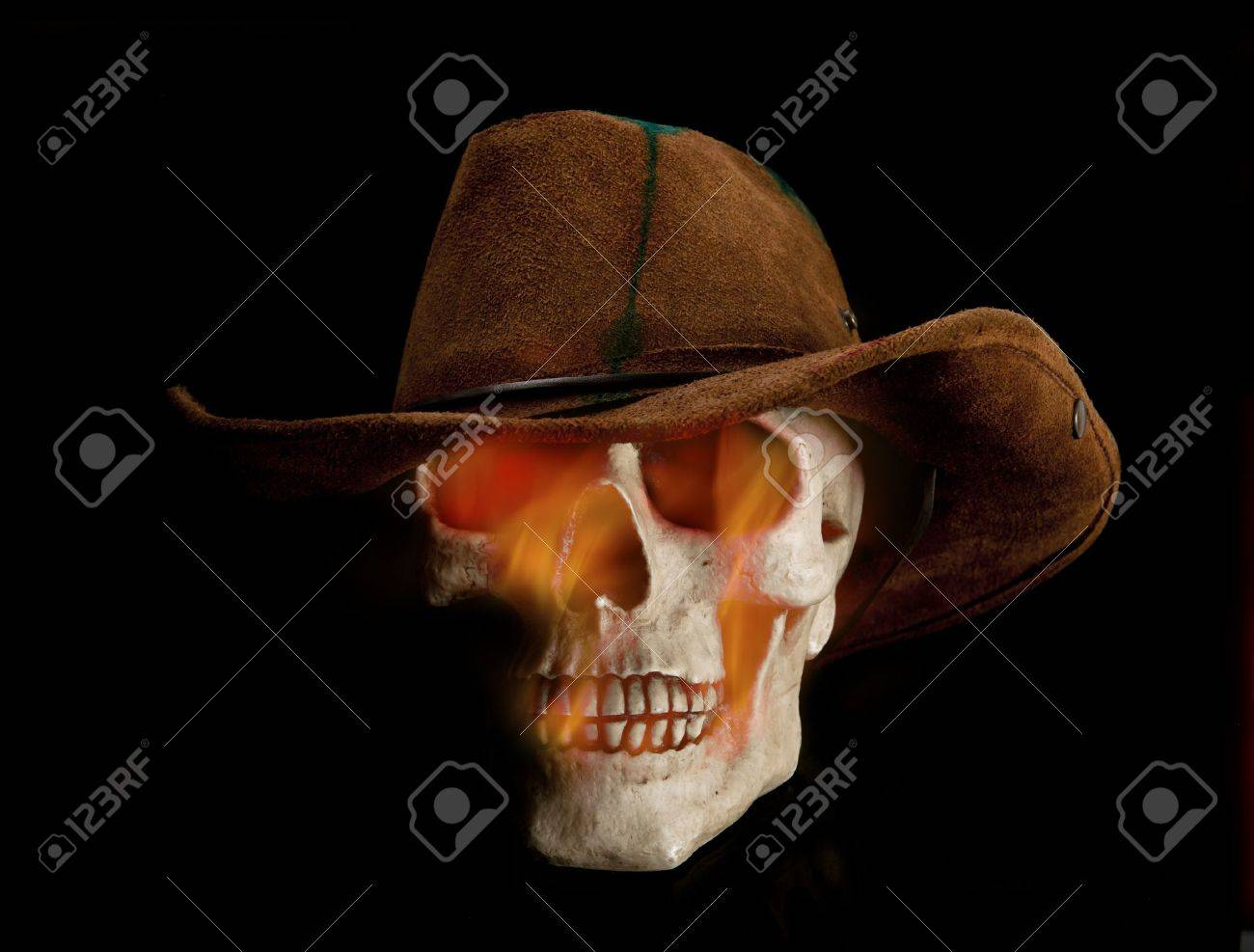 Skull With Cowboy Hat Tattoo flaming skull Scary flaming