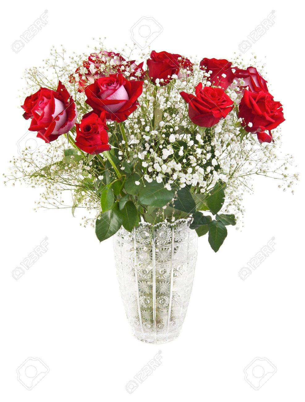 Beautiful Red Roses Bouquet In A Crystal Vase Isolated On White Stock Photo Picture And Royalty Free Image Image 13731782