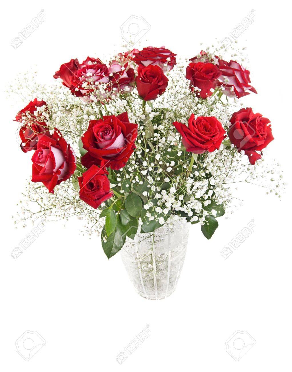 Beautiful Red Roses Bouquet In A Crystal Vase Isolated On White Stock Photo Picture And Royalty Free Image Image 13731780