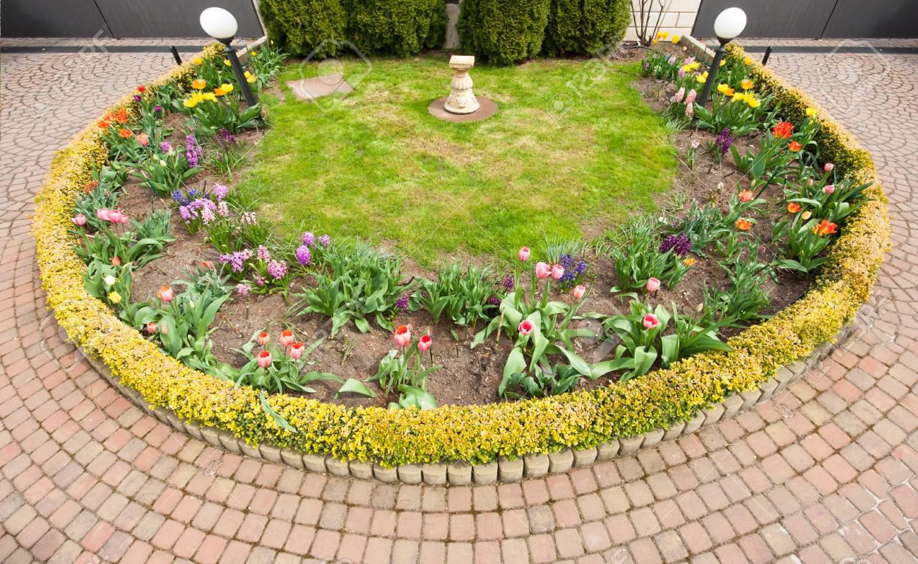 Détail d\'un beau jardin d\'ornement unique dans le ressort