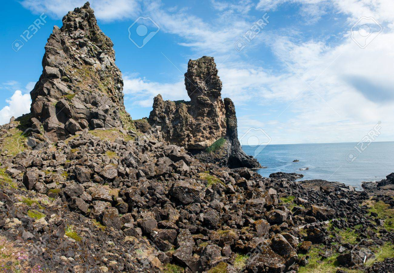 Two major basalt formations at Londrangar  Snaefellsness peninsula, Icelnad Stock Photo - 20456979
