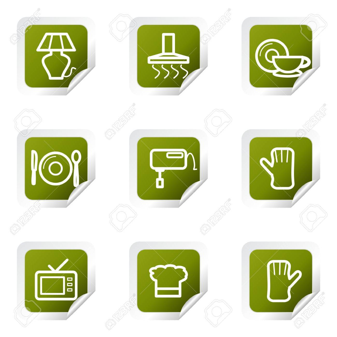 Set of 9 glossy web icons (set 33). Green square with corner. Stock Vector - 14736207