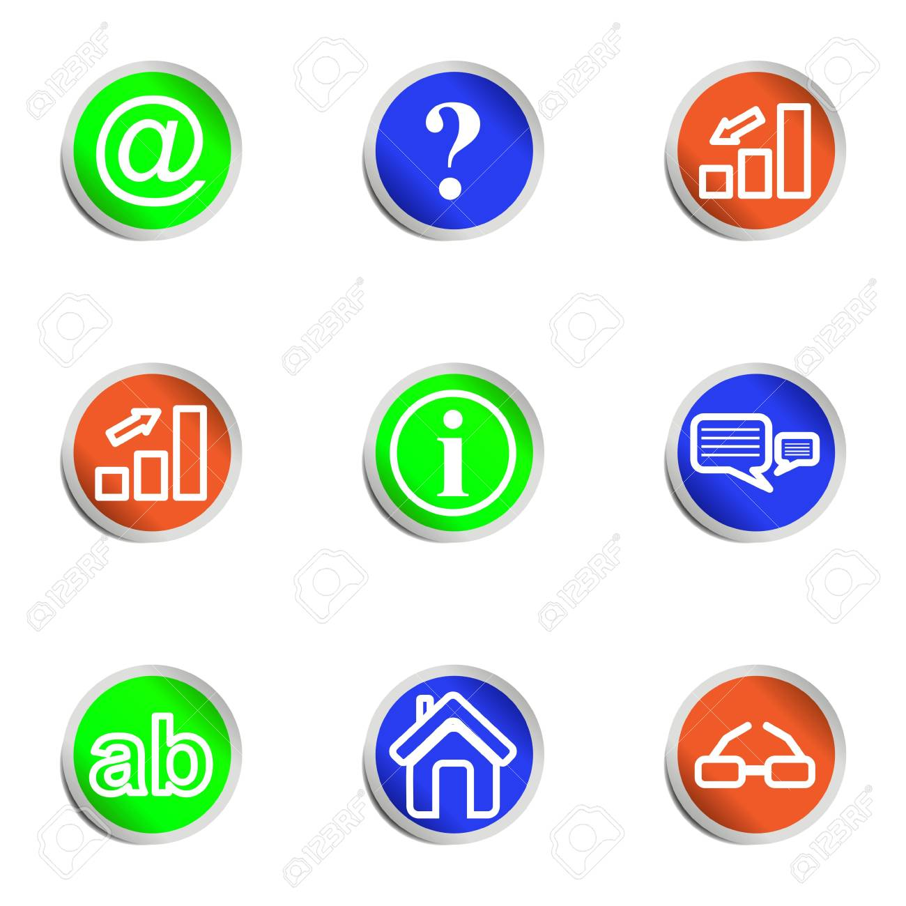 Set of 9 glossy web icons . Color circle. Stock Vector - 14736394