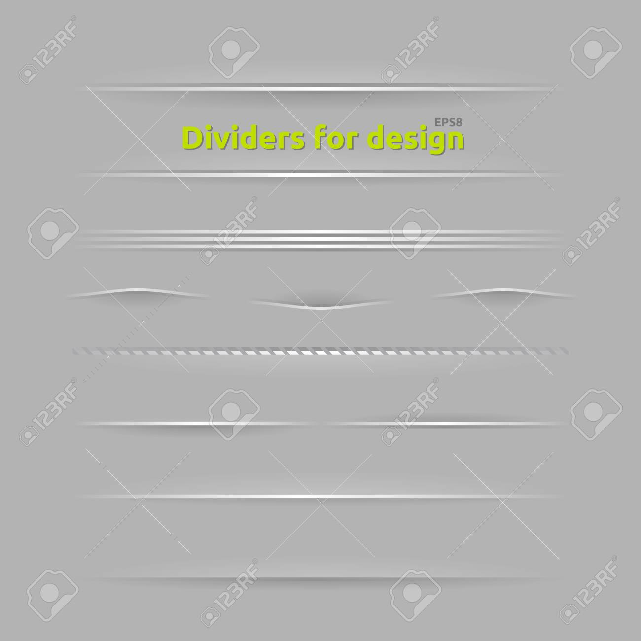 Dividers for design. Set of design elements with different shadows. Stock Vector - 14958829