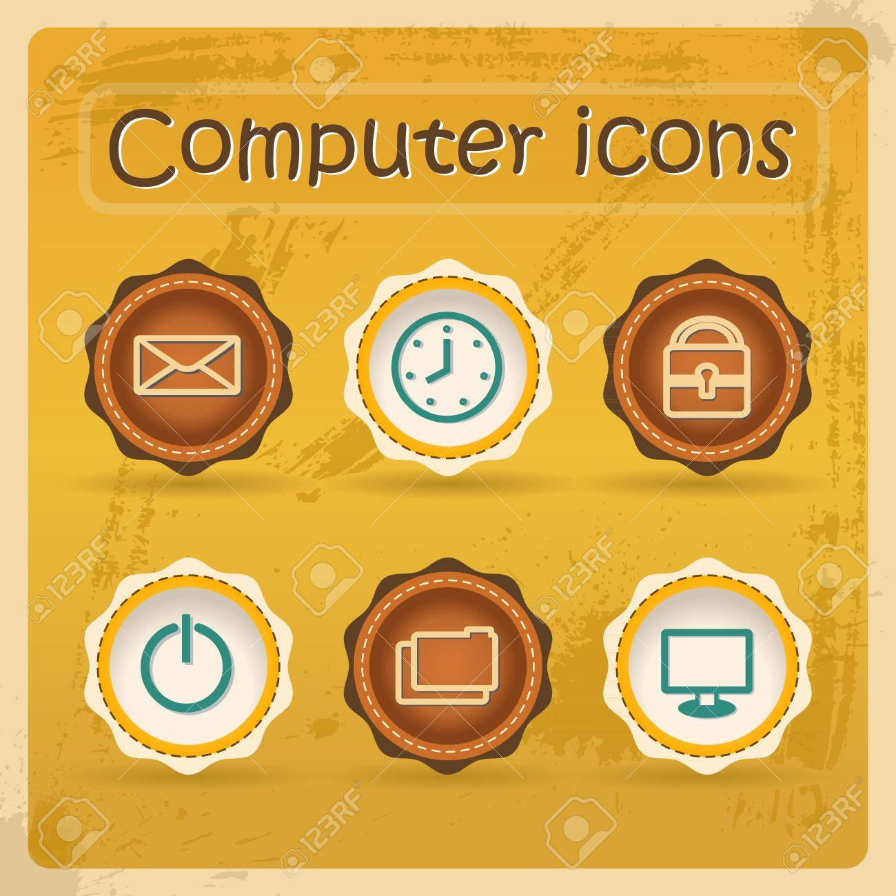 Internet eddiction icons. Vintage design. Grunge style.Retro Vector Illustration. Stock Vector - 14958837