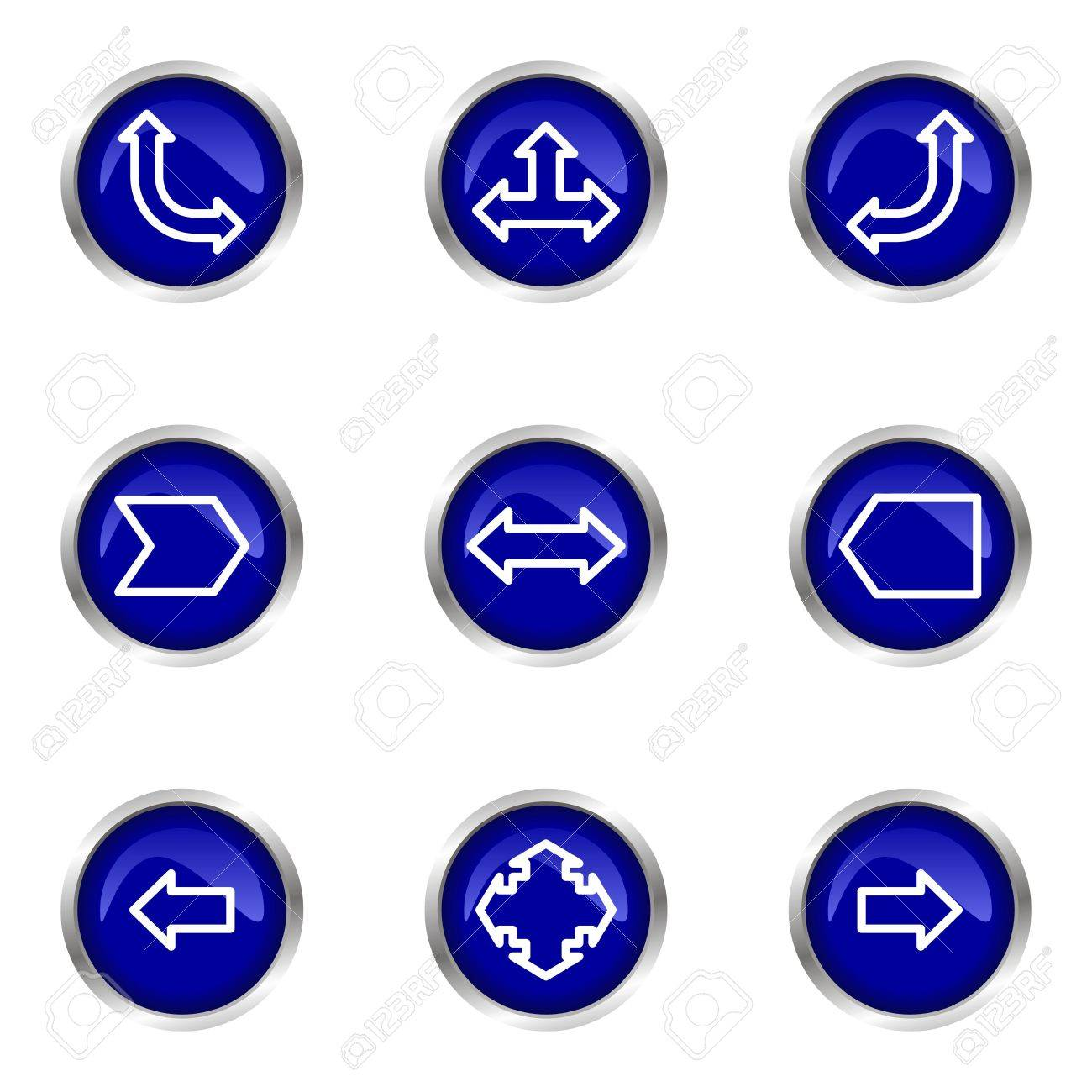 Set of 9 glossy web icons (set 12). Blue circle with reflection. Stock Vector - 15320655