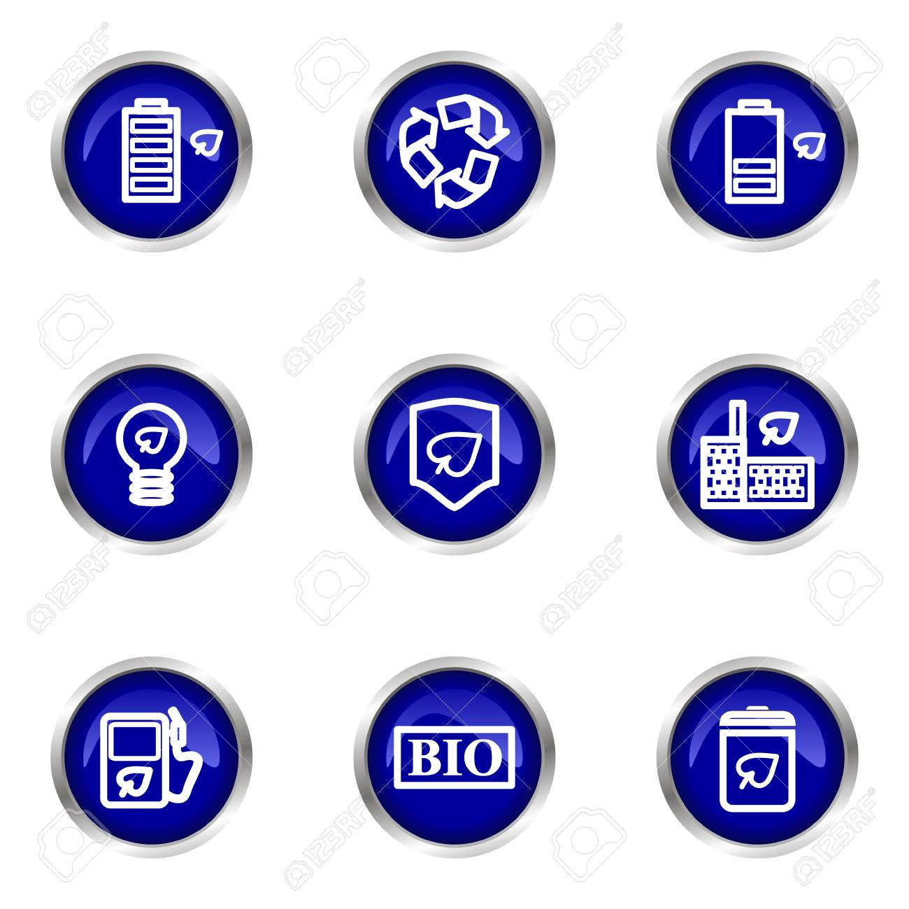 Set of 9 glossy web icons (set 16). Blue circle with reflection. Stock Vector - 15320625