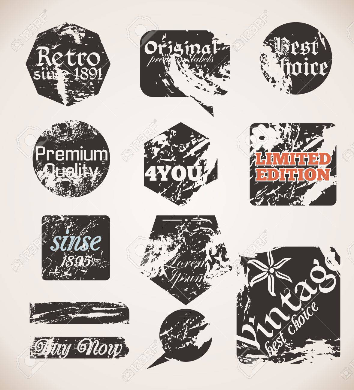 Vintage Labels Old Paper Textures Stock Vector - 15569980
