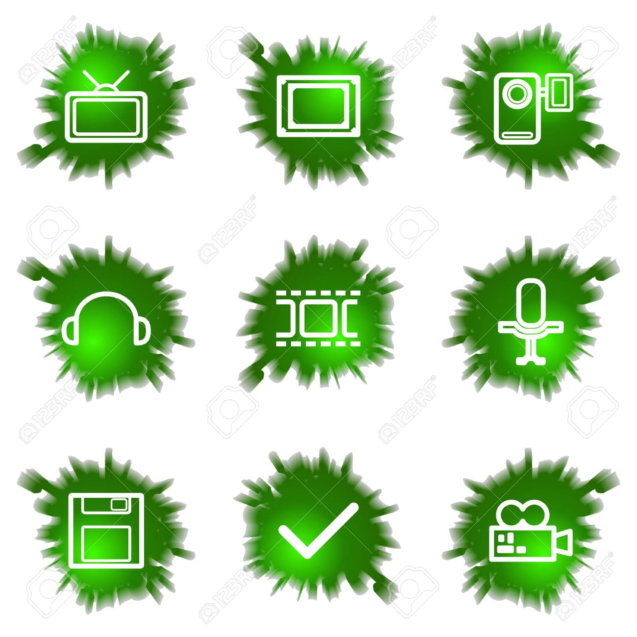 Set of 9 glossy green web icons (see other in my portfolio). Stock Vector - 16241450