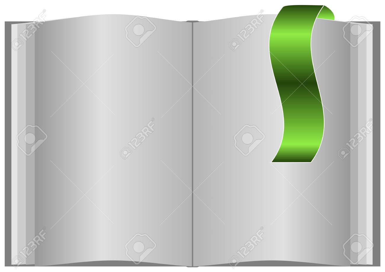 Blank open book on white background and with bookmark. Stock Vector - 16630473