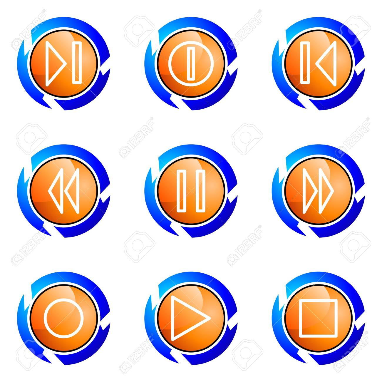 Set of 9 glossy web icons (set 23). Isolated button in various color. Stock Vector - 16681942