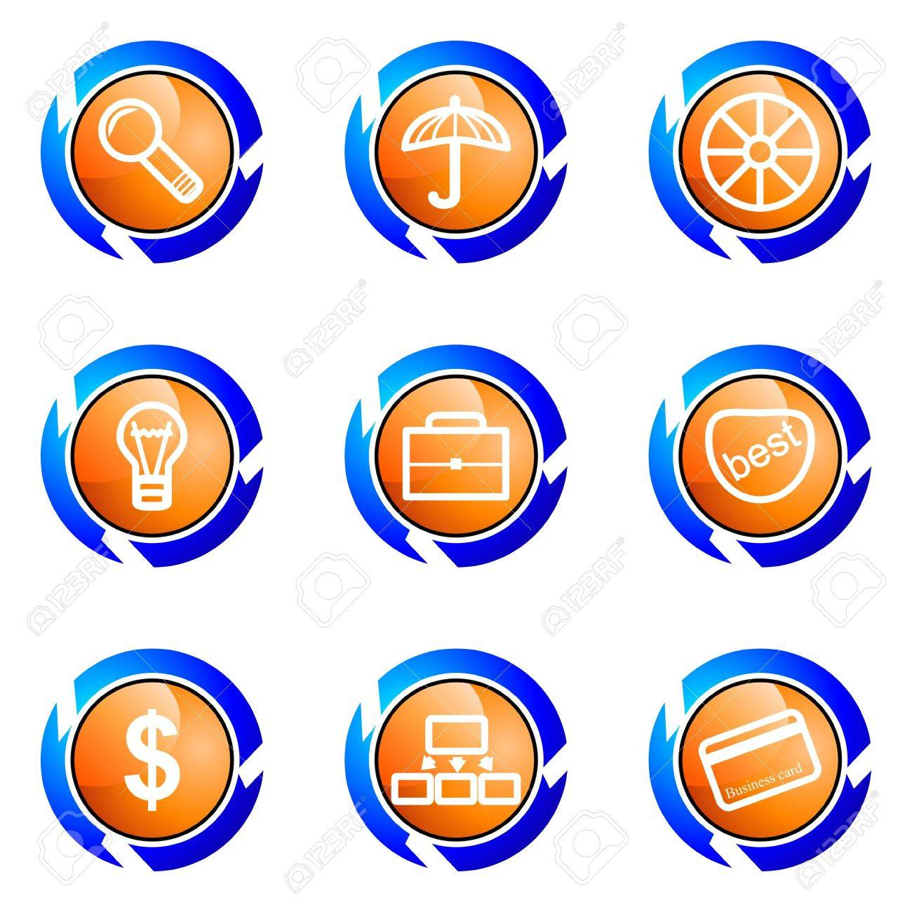 Set of 9 glossy web icons (set 24). Isolated button in various color. Stock Vector - 16682354