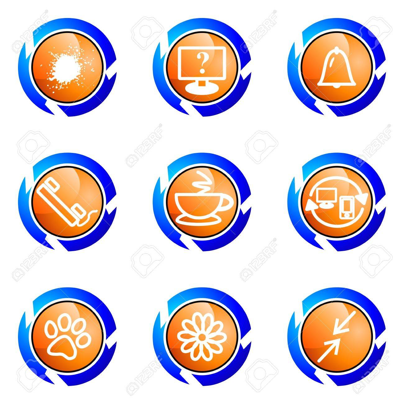 Set of 9 glossy web icons (set 26). Isolated button in various color. Stock Vector - 16682378