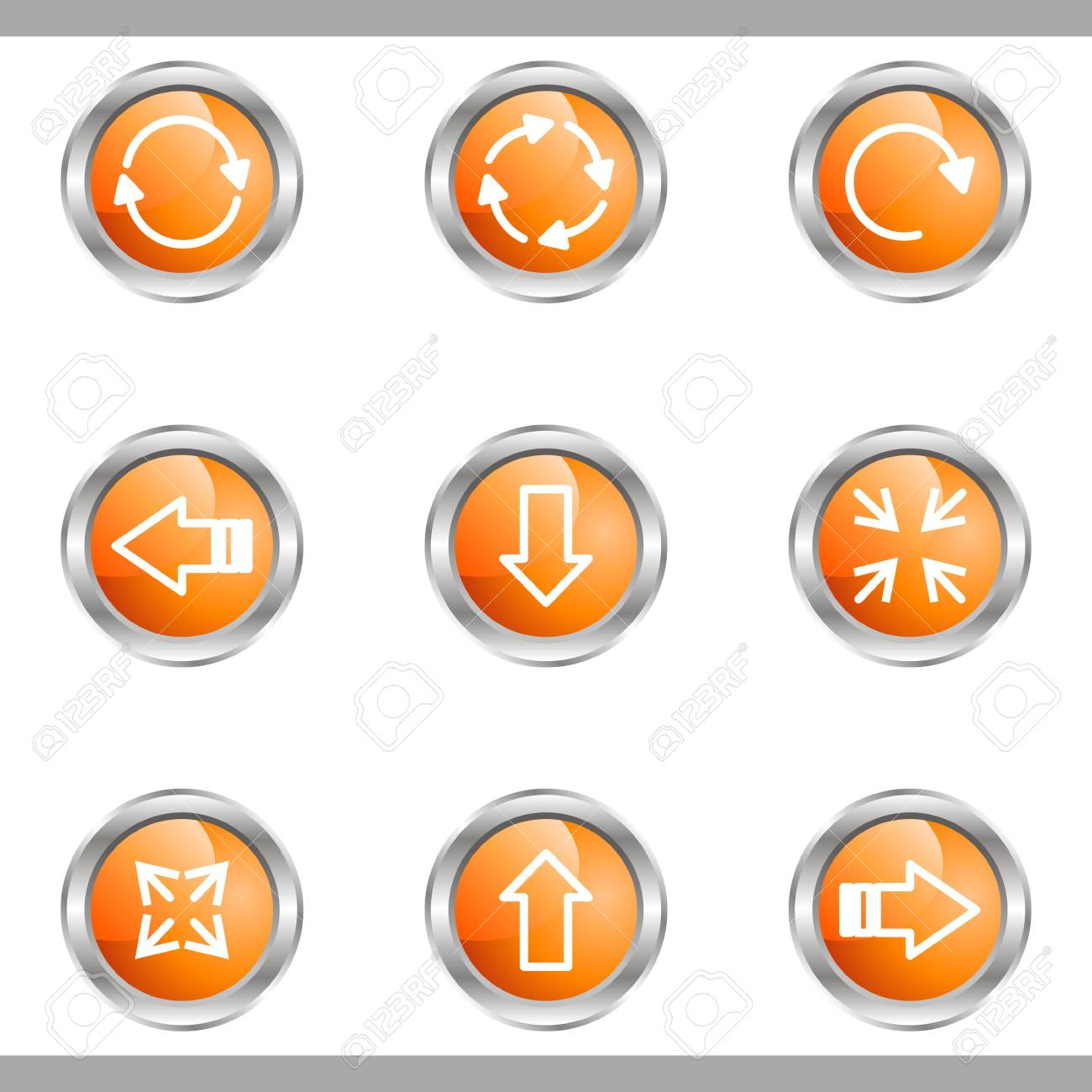 Set of 9 glossy web icons (set 2). Metallic circle. Stock Vector - 16682298