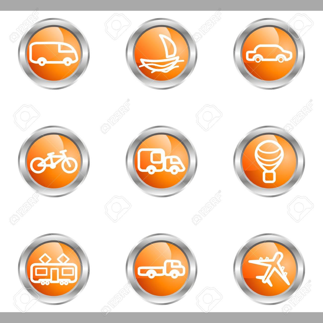 Set of 9 glossy web icons (set 5). Metallic circle. Stock Vector - 16682326
