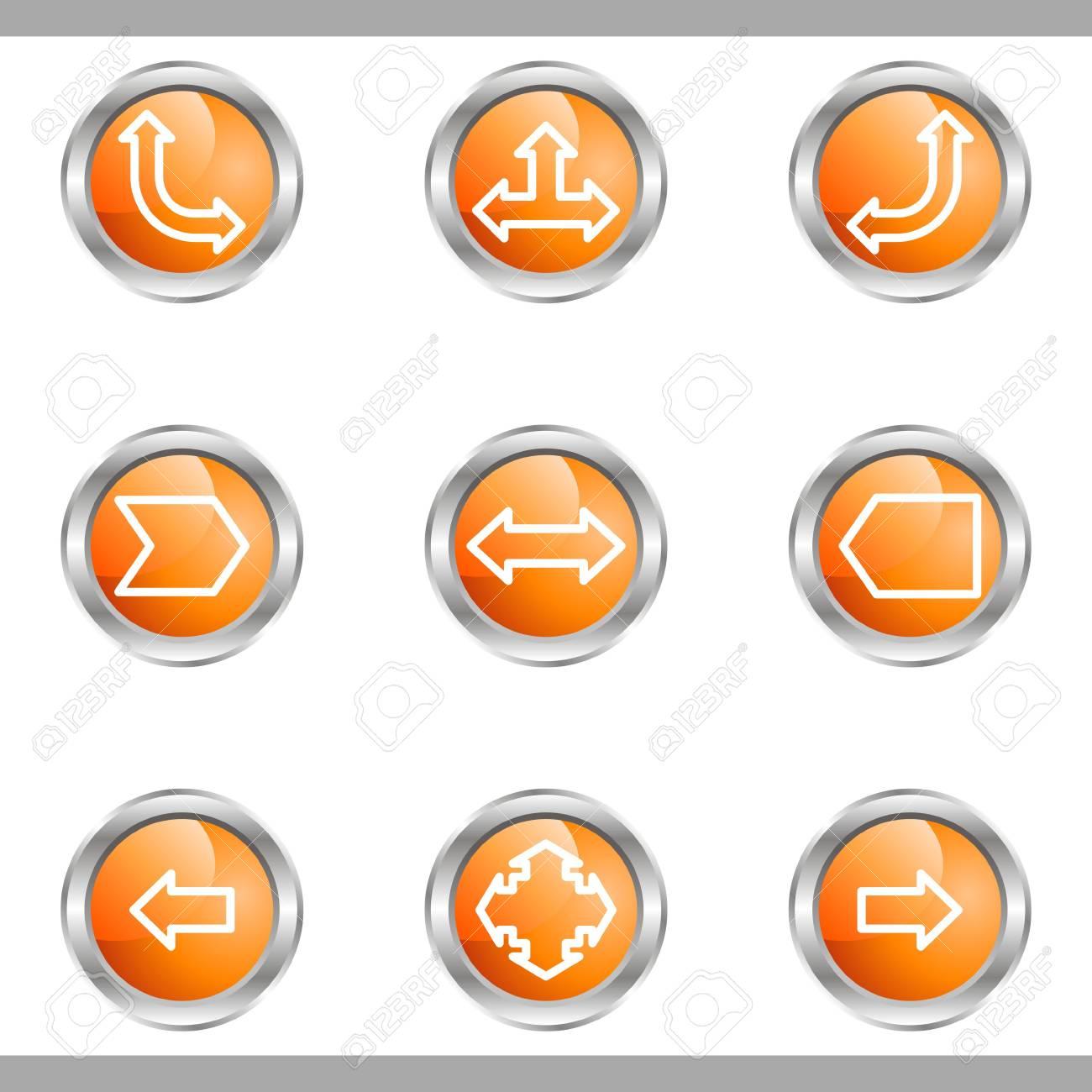 Set of 9 glossy web icons (set 12). Metallic circle. Stock Vector - 16682255