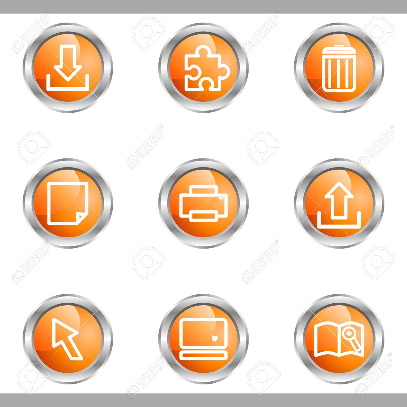 Set of 9 glossy web icons (set 28). Metallic circle. Stock Vector - 16682312
