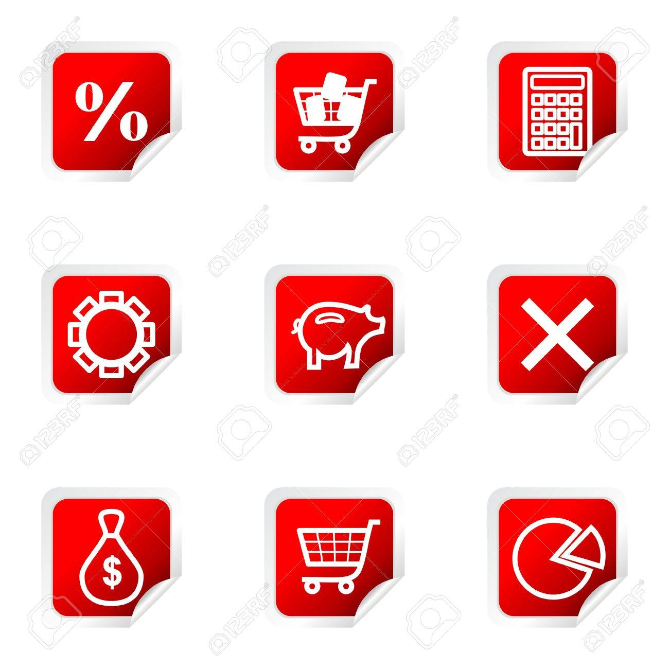 Set of 9 glossy web icons (set 3). Red square with corner. Stock Vector - 16710743