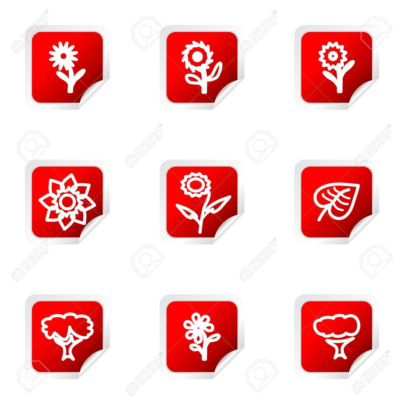 Set of 9 glossy web icons (set 18). Red square with corner. Stock Vector - 16710767