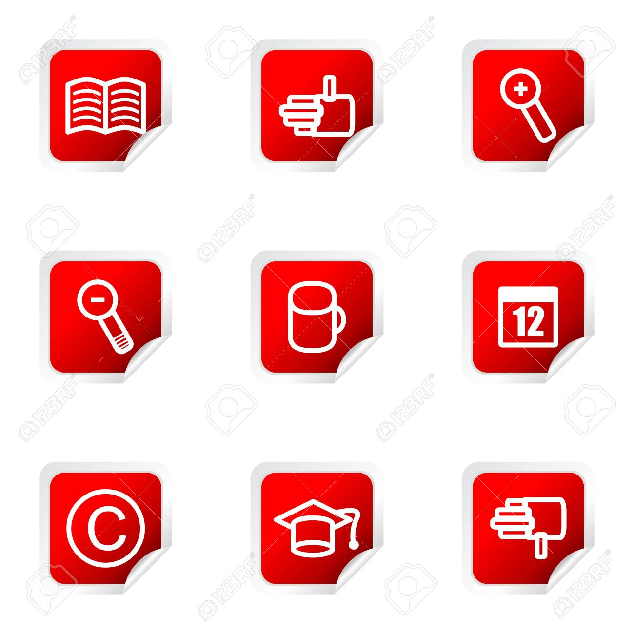 Set of 9 glossy web icons (set 20). Red square with corner. Stock Vector - 16710710