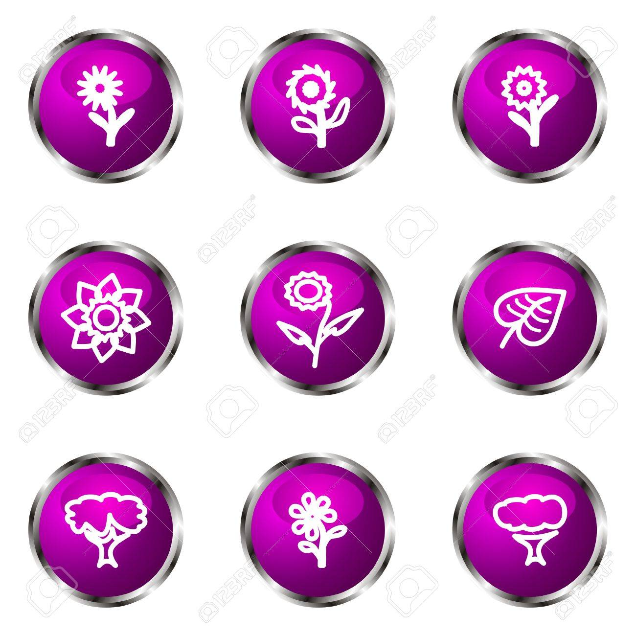 Set of 9 glossy web icons (set 18). Violet color. Stock Vector - 16710799