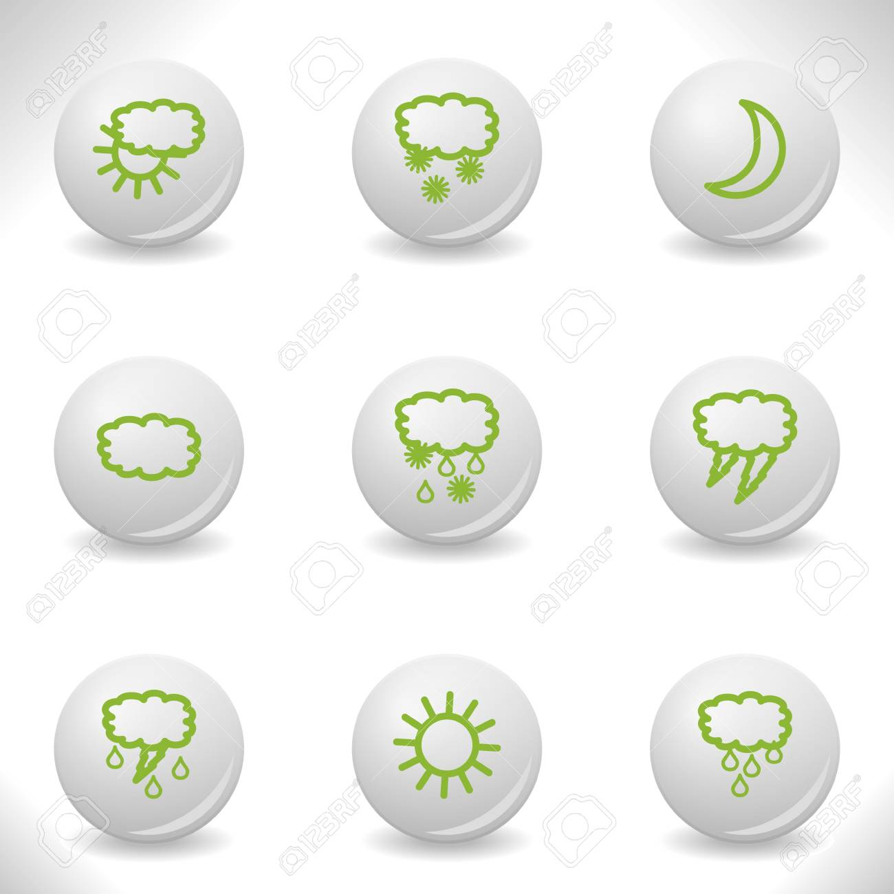 Grey balls with green icon and shadow (set 4). Stock Vector - 16876153