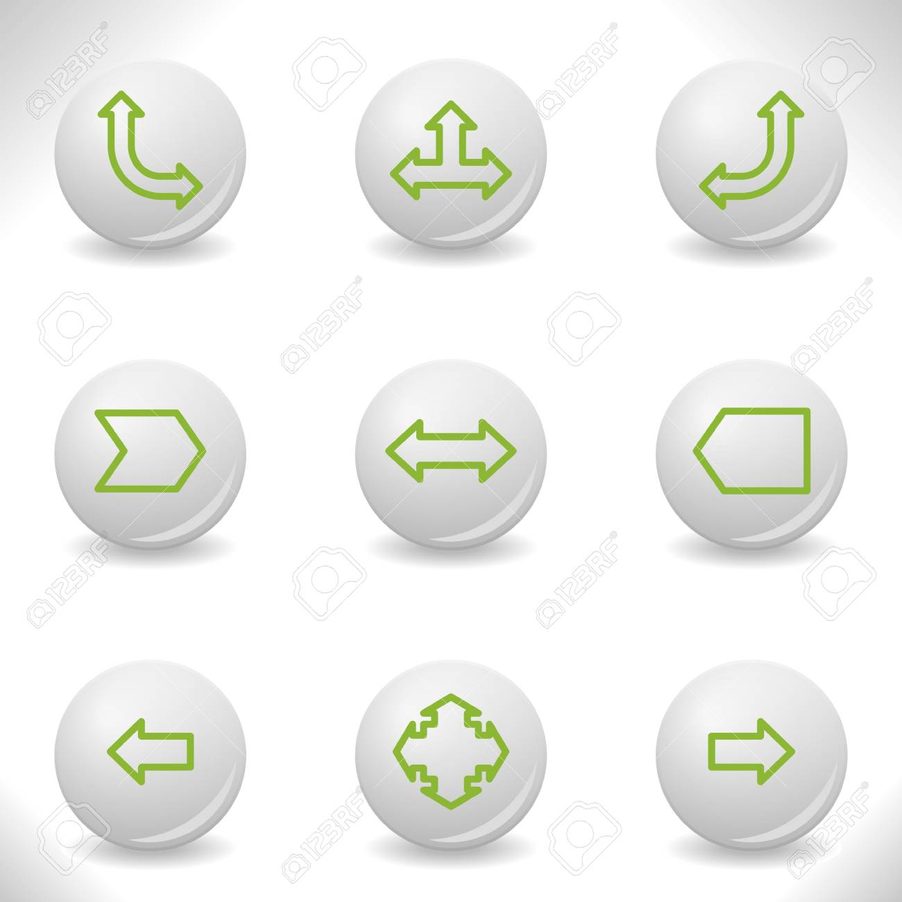Grey balls with green icon and shadow (set 12). Stock Vector - 16875993