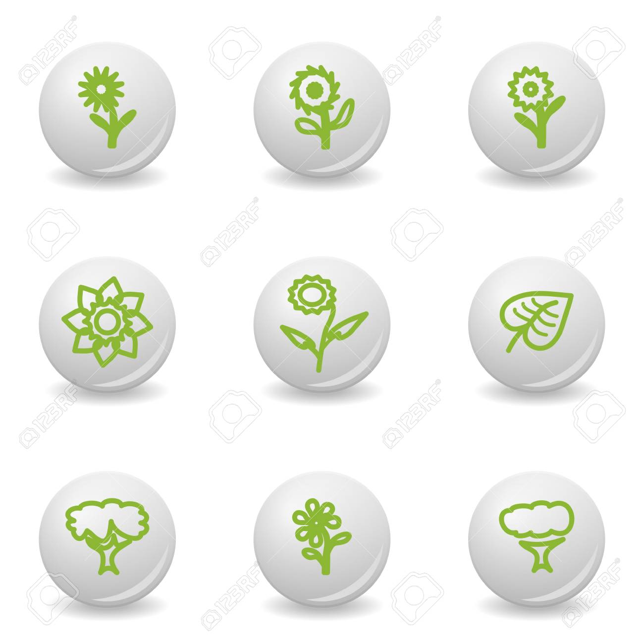 Grey balls with green icon and shadow (set 18). Stock Vector - 16876158