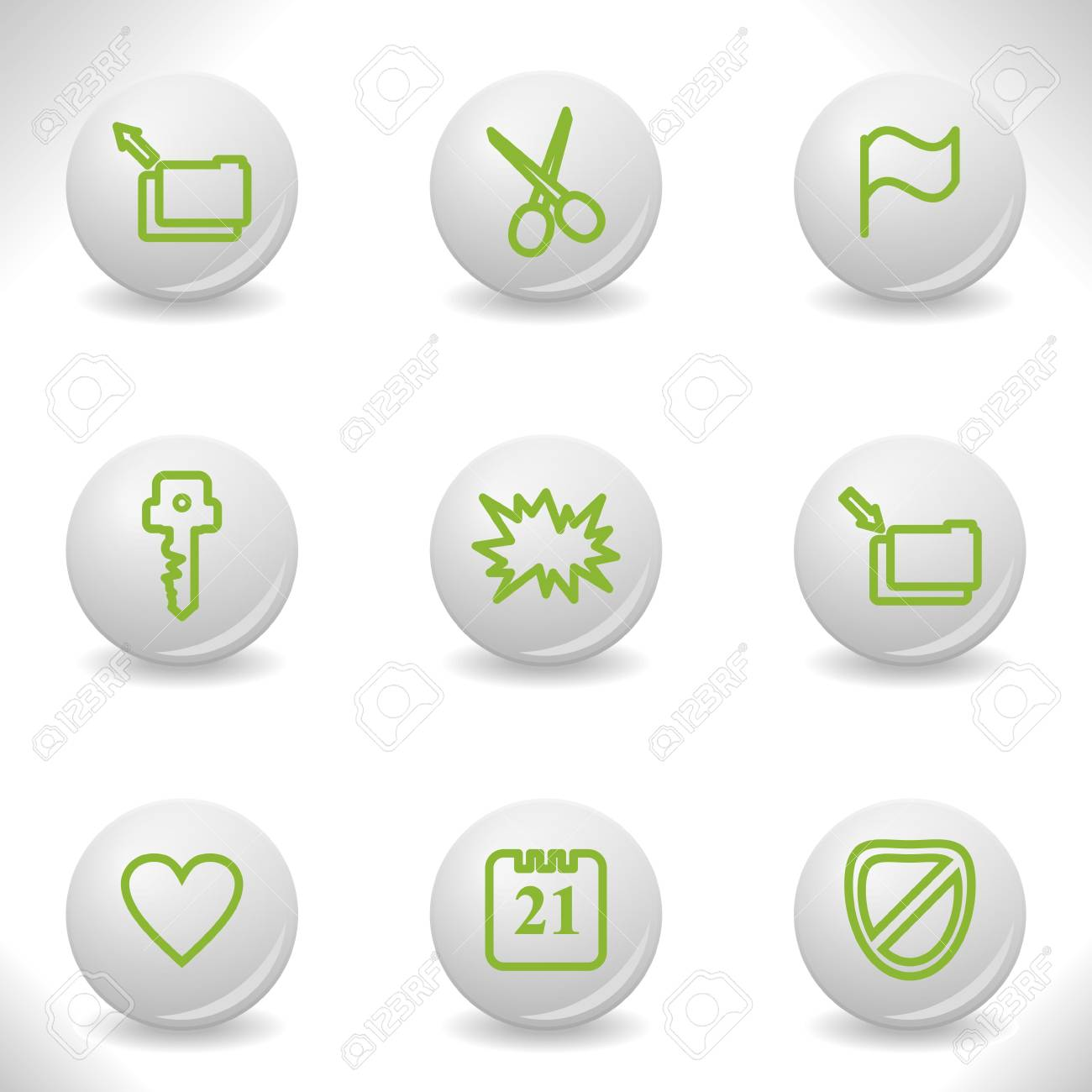 Grey balls with green icon and shadow (set 27). Stock Vector - 16876037