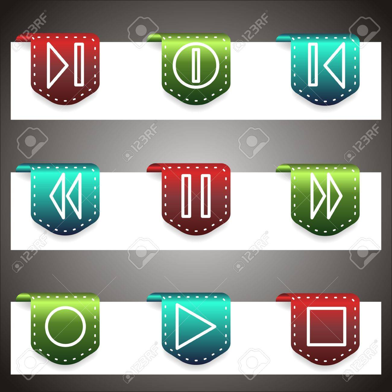 Color  vector icons set. navigation template (set 23). Stock Vector - 16876044