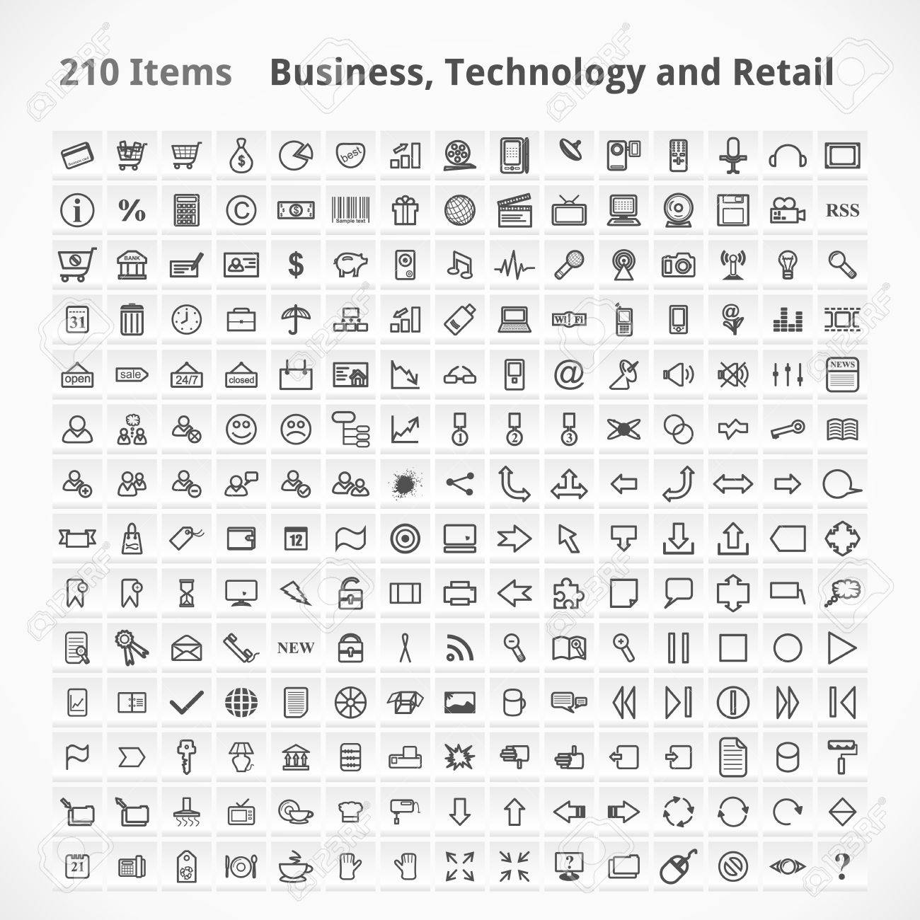 Business, Technology and Retail Items. Icons Set. Stock Vector - 17585069