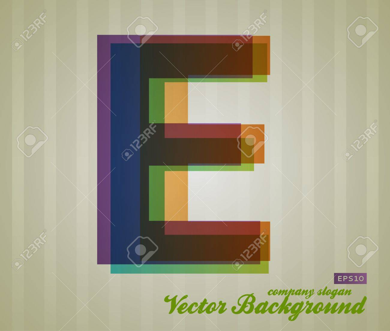 Color Transparency Letter. Retro Background. Symbol E. Stock Vector - 17584882