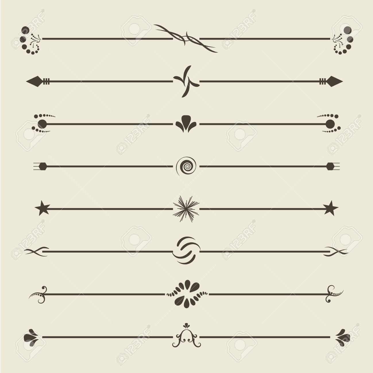 Brown calligraphic swirl dividers. Vintage Ornament Greeting Card. Ornament Retro Invitation. Certificate frame element. Jpeg illustration - 138281337