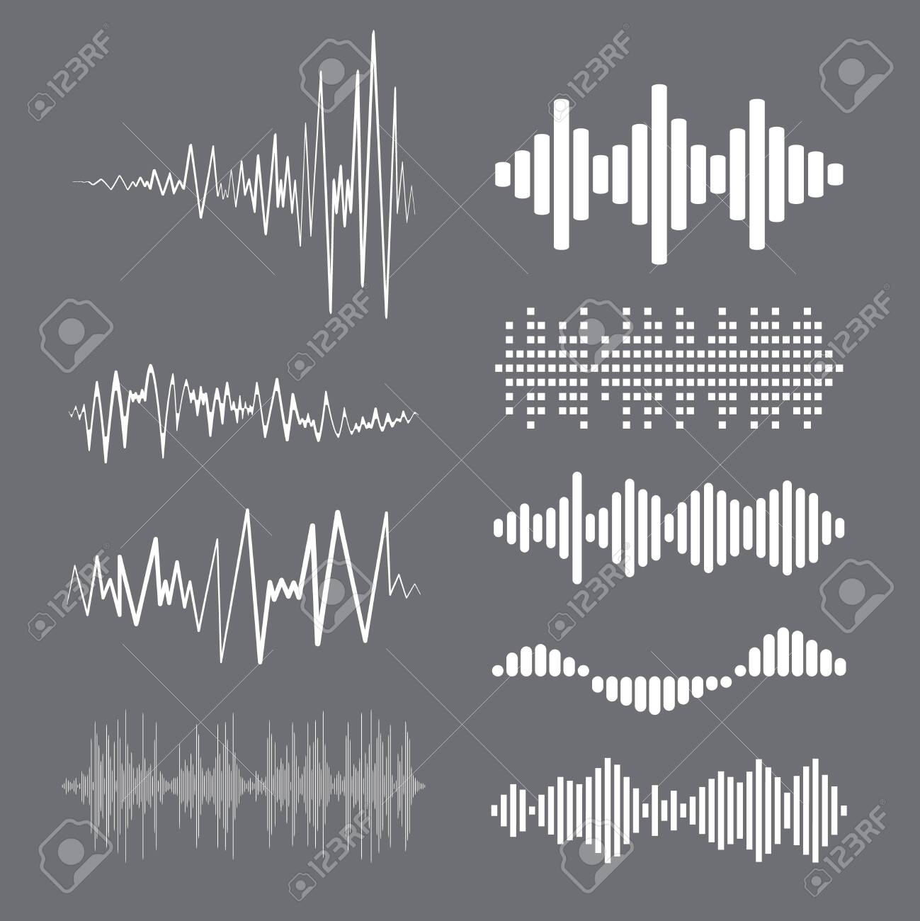 Collection white music wave on gray background. Vector set of isolated audio logos, pulse players, equalizer symbols sound design elements. - 151471504