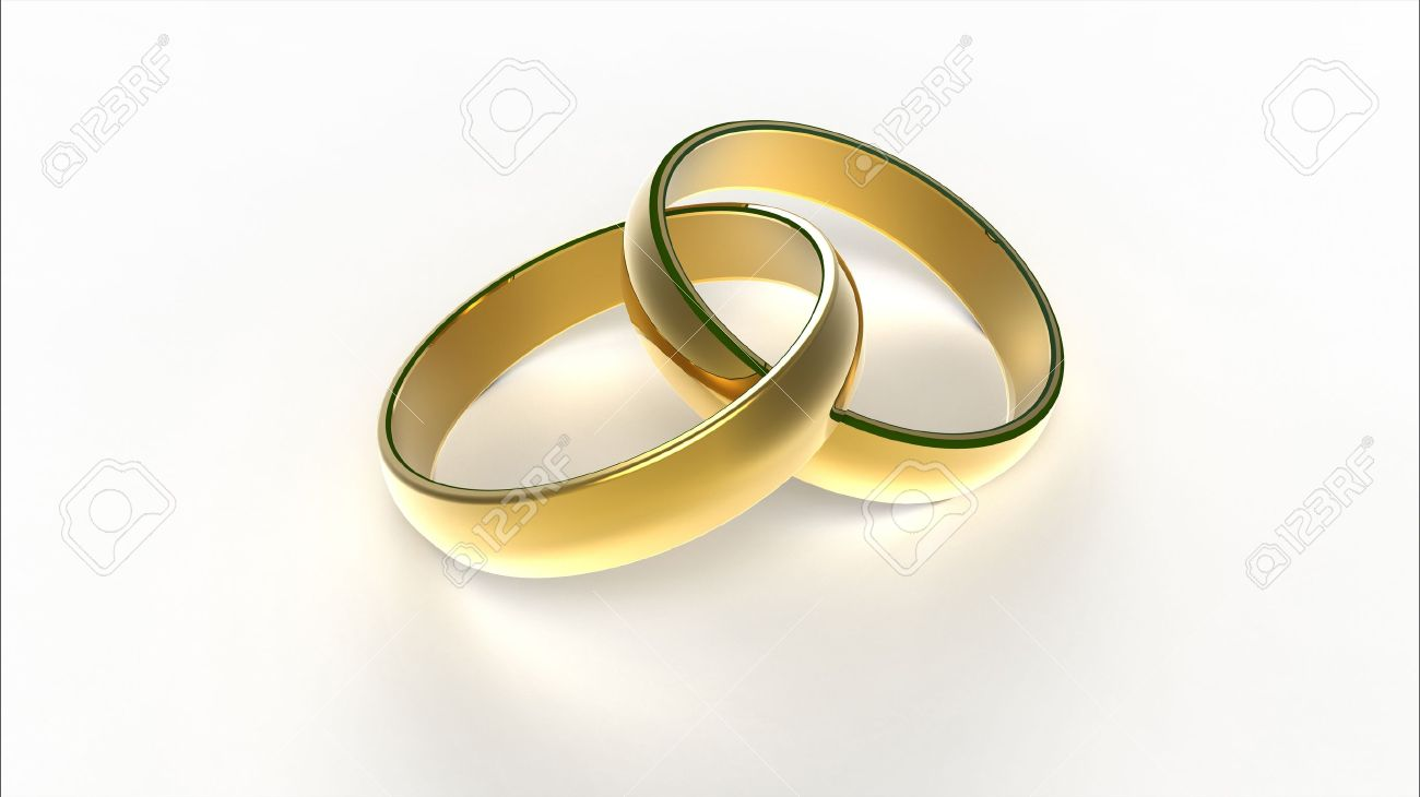 Computer Rendering Of Two Interlaced Golden Wedding Rings Stock