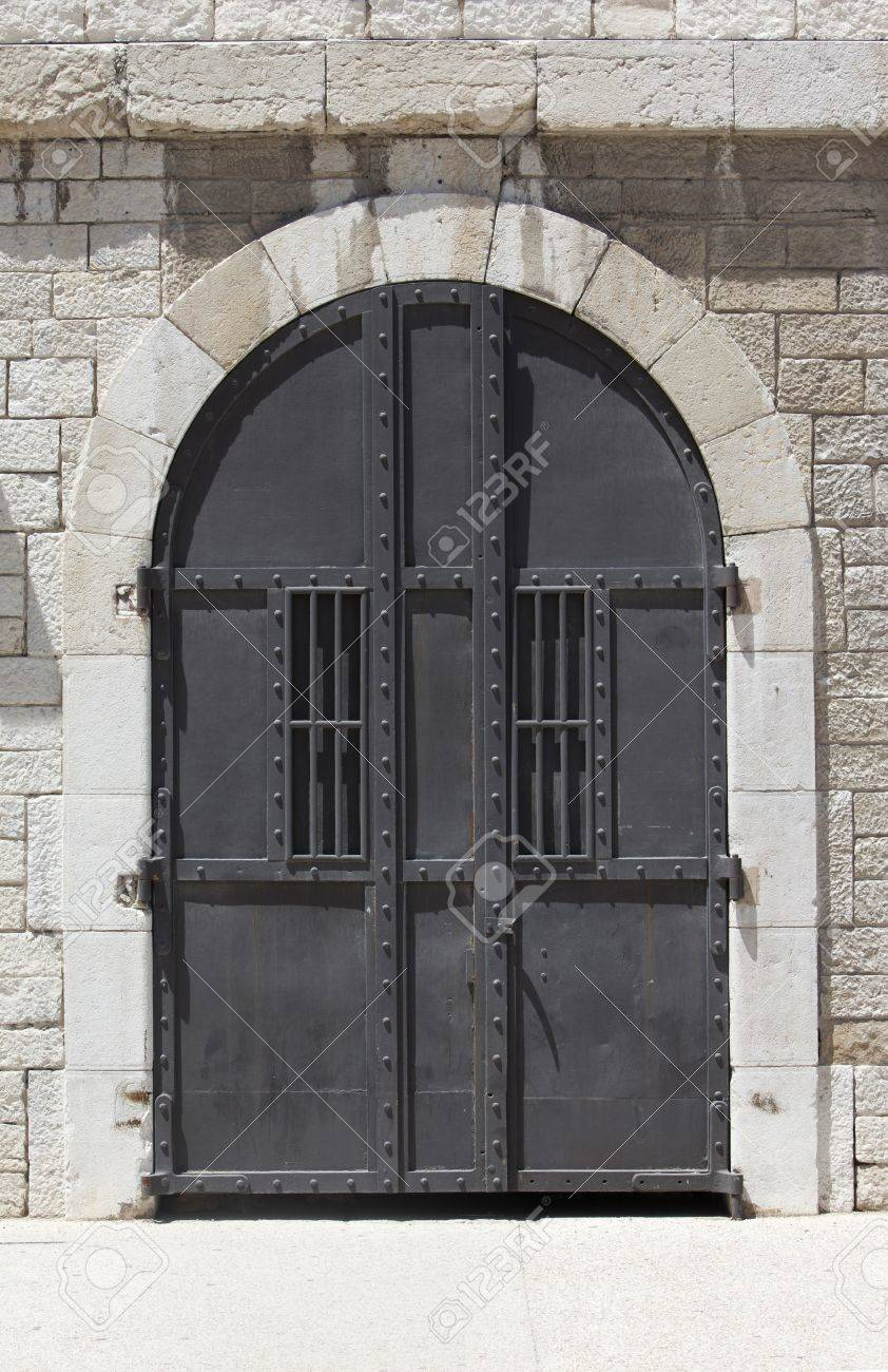 Large strong steel door with a vintage look Stock Photo - 9796846