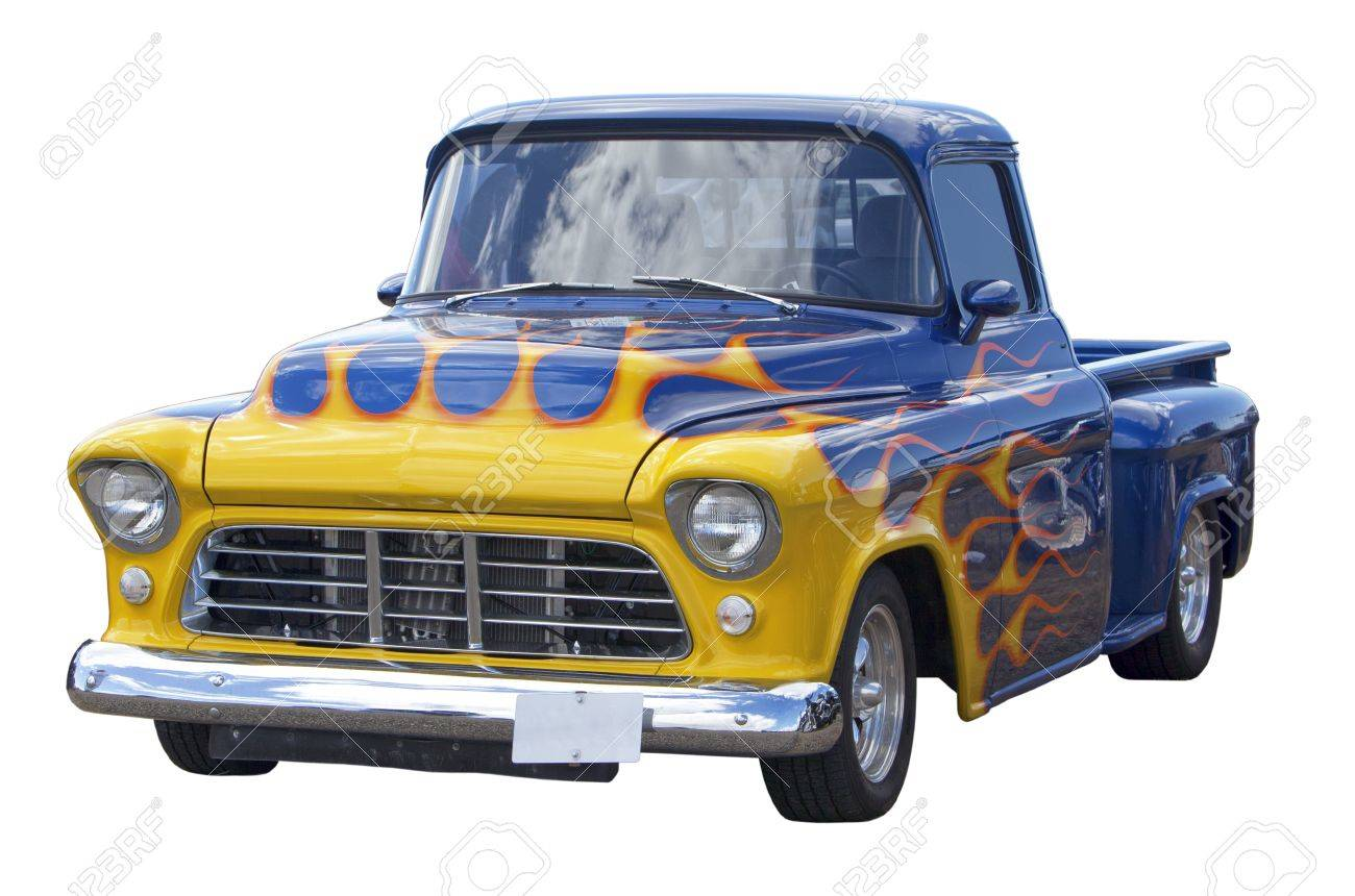 Hot Rod Decorated With Flames Isolated On White Background Stock ...