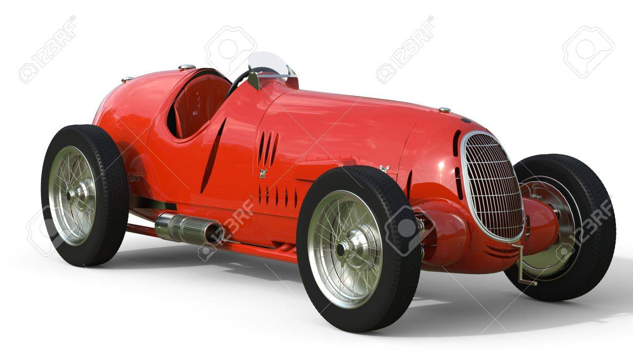 Front View Of A Red Old Race Car Isolated On White Background Stock ...