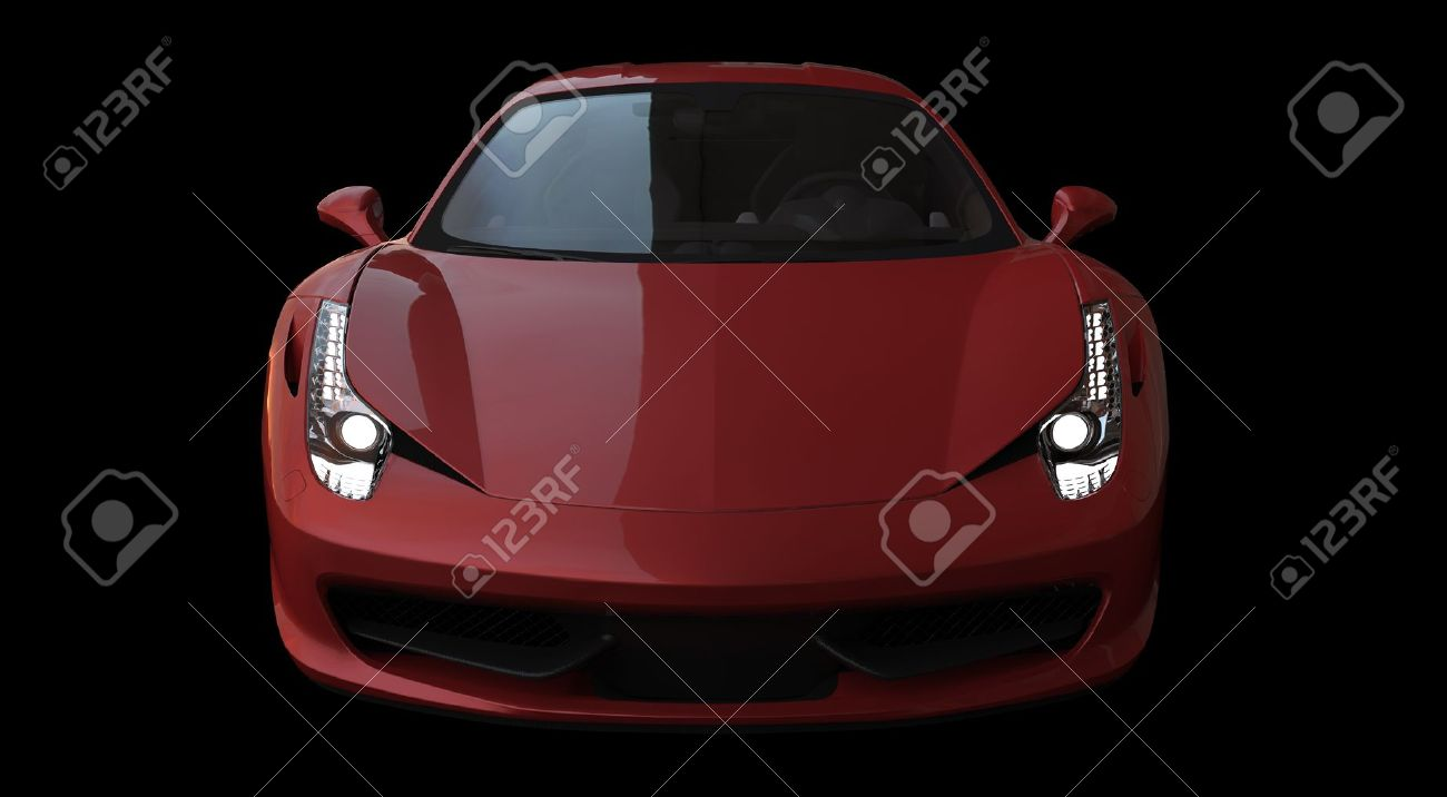 front view of a red italian racing car on black background stock