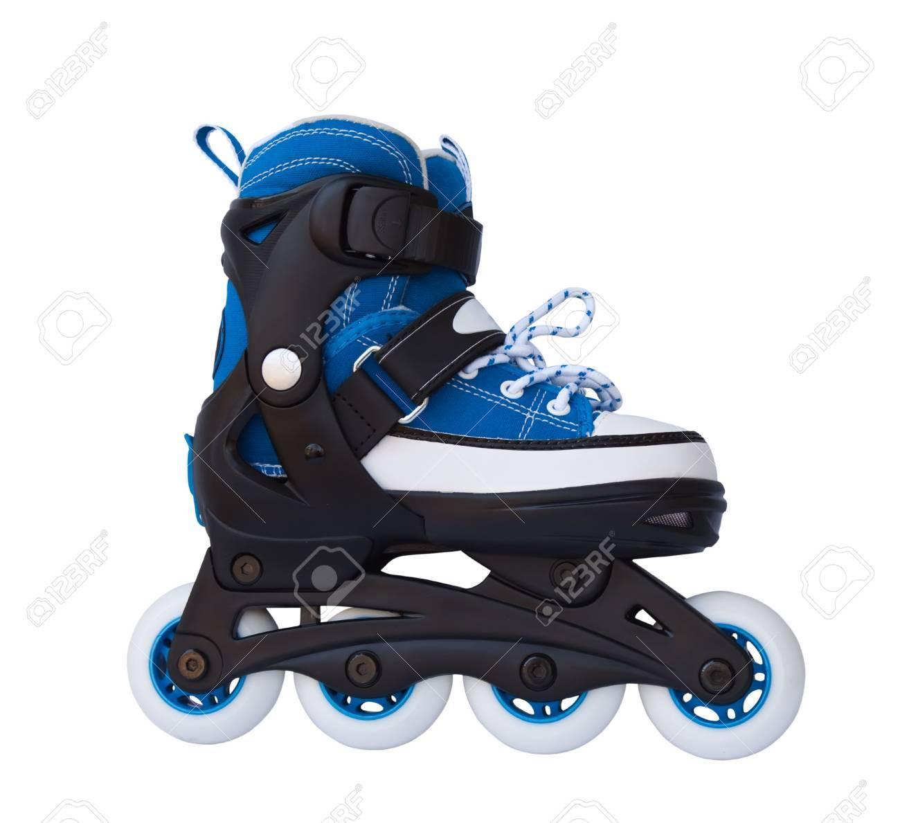 Roller skates blue - Blue Roller Skates Isolated On A White Background Stock Photo 6671127