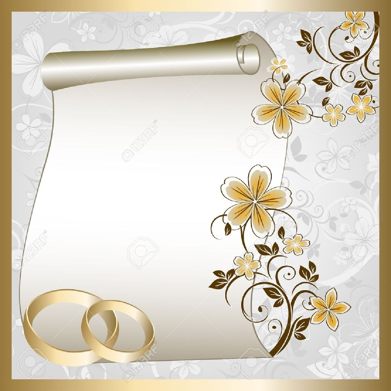 Wedding card with a floral pattern and place for text - 10594257