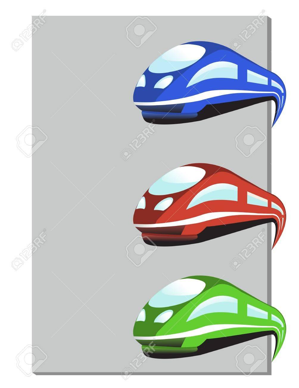 Vector train in three colors - 10997249